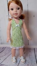 "Reversible Halter Dress with Sandals fits 14.5 "" AG Wellie Wishers & H4H Dolls"