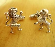 ONE PAIR STERLING SILVER SCOTTISH RAMPANT LION CUFFLINKS