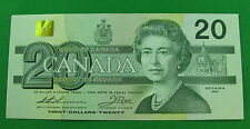 1991 $20  Bank of Canada BC-58aThiessen crow replacement note AU with out serifs