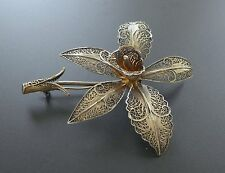 Vtg European 835 Silver Gold Vermeil Flower Filigree Brooch Pin Sculpted 3D