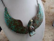 OLD PAWN Eagle Carved Turquoise Necklace, Movable, H. SPENCER, 57 grams, PW7