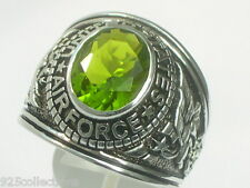 Sterling Silver United State Air Force Military August Peridot Men Ring Size 9