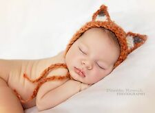 Mohair Fluffy Fox Bonnet hat. Photography Photo prop. Newborn. Baby shower