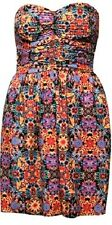 """Urban Outfitters Band of Gypsies Strapless Dress XS Orange Motiff NEW 25"""" long"""
