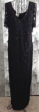 Stenay Vintage Inspired Beaded Sequin Evening Gown Dress Black 14 NWT MSRP $198