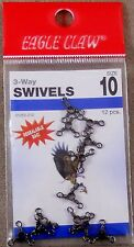 Bass Trout Fishing Swivel 1 Pack Of 12, Eagle Claw # 10 Black 3 Way Swivels