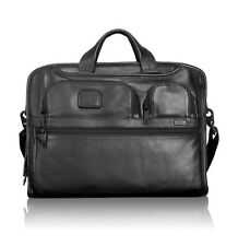 Tumi ALPHA 2  BLACK Leather Brief Case Laptop Messenger Organizer $555