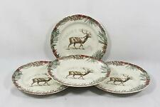 222 Fifth  Mount Holly Green Porcelain Christmas Salad Plates Set of Four New