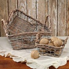(3) Willow & Wire Baskets w/Handle Home Decorating Accent