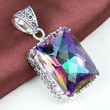 Top Fashion Vintage Silver Rainbow Mystical Topaz Gemstone Necklace Pendant