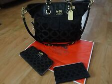 COACH Madison Julianne Black Op Art Convertible/Satchel Bag/2pc  Matching Wallet