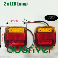 2 Trailer LED Lamp Kit Stop Indicator Light Built in Number Plate Waterproof 12V