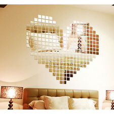 100 Mirror Tile Wall Sticker 3D Decal Mosaic Room Decor Stick On Modern Art