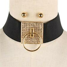 "13"" gold crystal pave door knocker choker collar stretch necklace earrings"