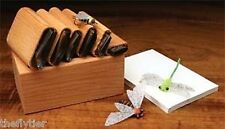 "DELUXE UNIVERSAL BUG WINGS ""6 CUTTER SET""  with Wood Caddy Box -- Fly Tying"