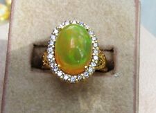 14K Gold Ring with Huge Welo Opal and Halo of Diamonds  A55