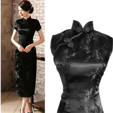 Chinese long Evening Party cocktail Dress Qipao Cheongsam Chinese size  16 Black