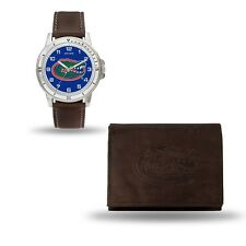Florida Gators Watch and Wallet Gift Set - Brown Leather Stainless Steel