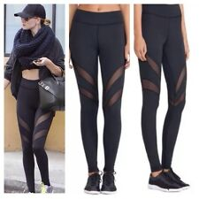 * Damas Diseñador Estilo Negro Deporte Fitness Leggings Malla Red M UK 10/12 *