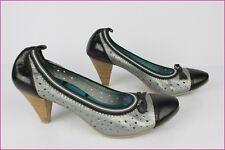 Zapatos ELLE Cuero Gris Plata y Negro T 40 MUY BUEN ESTADO