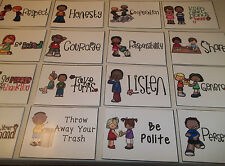 20 Laminated Manners Poster Cards. 4 inch by 5 inch laminated. Behavior Manage