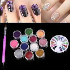 12 Colores Metal Brillo Atractivo Polvo UV polvo Set Manicura Uñas Decoración