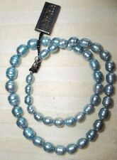"""STERLING PEARL NECKLACE HONORA RINGED BLUE PEARL LOVELY COLOR 18"""""""