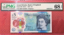 England New £5 Polymer SOLID Serial AH47 444444 SUPERB GEM UNC PMG 68 EPQ
