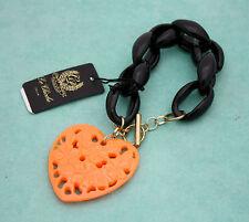 Bracciale a catena Le Chicche by Charlotte De Paris con ciondolo a cuore arancio