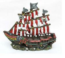Penn Plax Striped Pirate Ship Aquarium Ornament Small - RR971