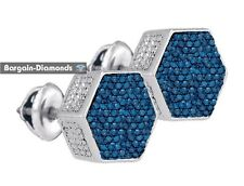 blue diamond .12 carat stud screwback earrings 925 unisex men hexagon ladies