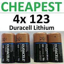 4 x 123 Duracell 3V Lithium Batteries (CR123A, DL123, Photo) EXP 2027