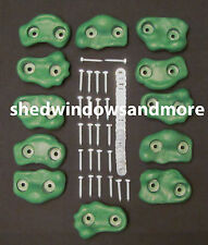 Rock Holds GREEN Color Set of 12 W/hardware Rock Wall Climbing Rocks Playground