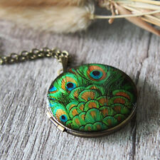 Retro Green Peacock Tail Feather Vintage Brass Picture Locket Pendant Necklace