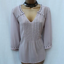 Next Mink Blush Long Sleeve Dippy Hem Classic Shirt Blouse Top Tunic 18 UK