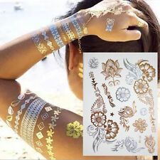 HENNA TEMPORARY TATTOO METALLIC GOLD & SILVER TATTOOS FLASH FLOWERS TRIBAL BOHO