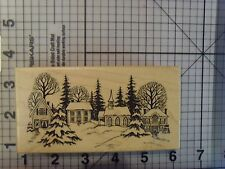 """PSX Personal Stamp Exchange """"Christmas Village"""" Scene Wood Mounted Rubber Stamp"""