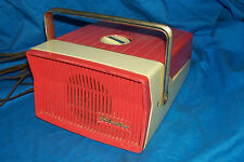 Vintage Tube Radio Silvertone Dur-Pac 8219 Coral Old Tube 1950s Sears Roebuck Co