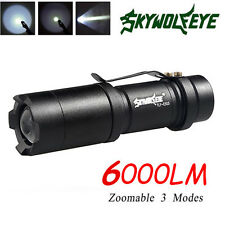 Super Bright 6000LM XML T6 LED Flashlight Focus Torch Zoomable 3Modes Light Lamp