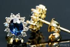 ~~Solid 14K Yellow Gold Natural Oval Cut Blue Sapphire & Diamond Stud Earrings~~