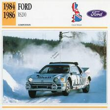 1984-1986 FORD RS200 Racing Classic Car Photo/Info Maxi Card