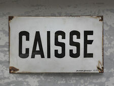 French Enamel CAISSE Metal Sign Old Vintage Style Enameled Wall Plaque