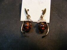vintage sterling silver dolphin amber dolphin earrings