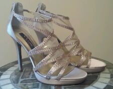 "New NINA NY ""Belinda"" strappy stilettos/shoes, champagne satin/leather, Sz 8M/B"