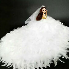 Handmade White Feather Wedding Dress Clothes For 30cm Barbie kurhn Liv Doll