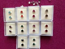 JOBLOT -20 pairs of 0.6cm gift boxed mix colours  diamonte  stud earrings.