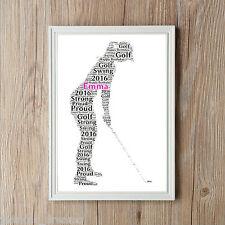 Mujer golfista personalizado de Arte de Word A4 impresión Mamá hermana Regalo Recuerdo Golf