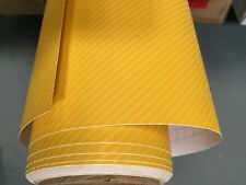 high quality 4D YELLOW Carbon Fibre Vinyl Wrap Sheet Film Sticker 30cm x 1.52m