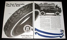 1919 OLD MAGAZINE PRINT AD, UNITED STATES TIRES, THE FIRST PNEUMATIC TRUCK TIRE!