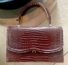 Vintage Crocodile Embossed Brown Leather Handbag made in Italy